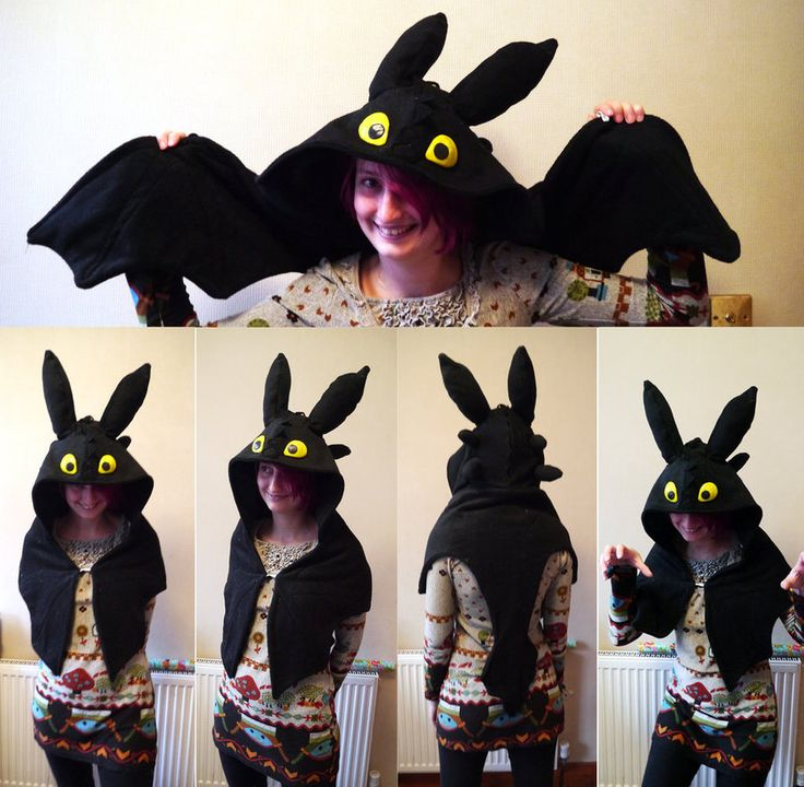 Toothless how to train your dragon hood by TrafficConeCreations
