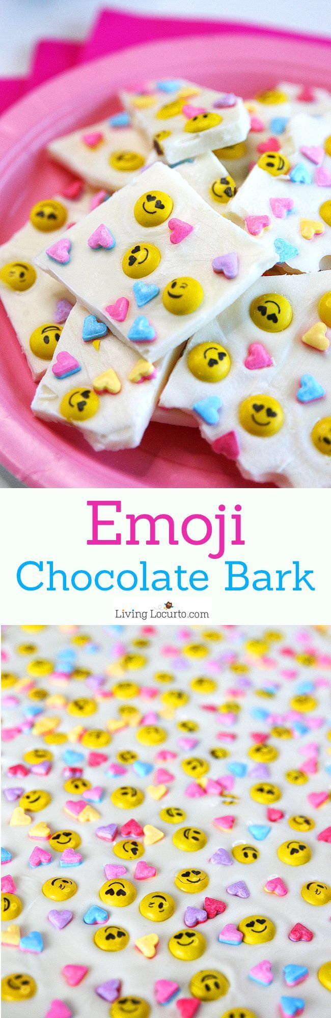 Emoji Chocolate Bark makes a simple and adorable Valentine's Day Treat! This white chocolate dessert is perfect for a school party or birthday.