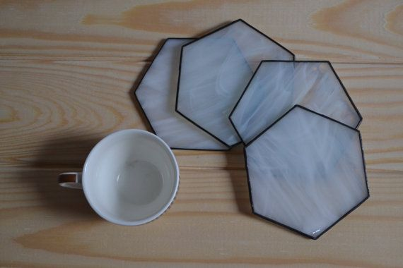 $25 White Hexagon Coaster Set of 4, Unique Stained glass honycomb modern Kitchen Decor, Coffee Table Decor, Drink Coasters, Cocktail Coasters