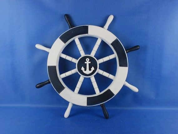 $39.99-Painted Wooden Ship Wheels 18 w/ 4 Different by NauticalBeachDecor