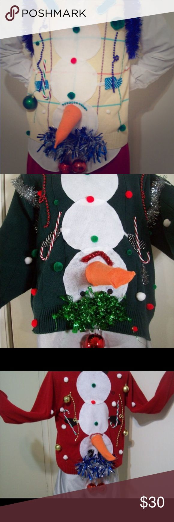 Ugly holiday sweater❤️ Handmade ugly Christmas sweater. Sure to be the best sweater at the holiday party! You choose the sweater color. MADE to order quick!!!! Sweaters
