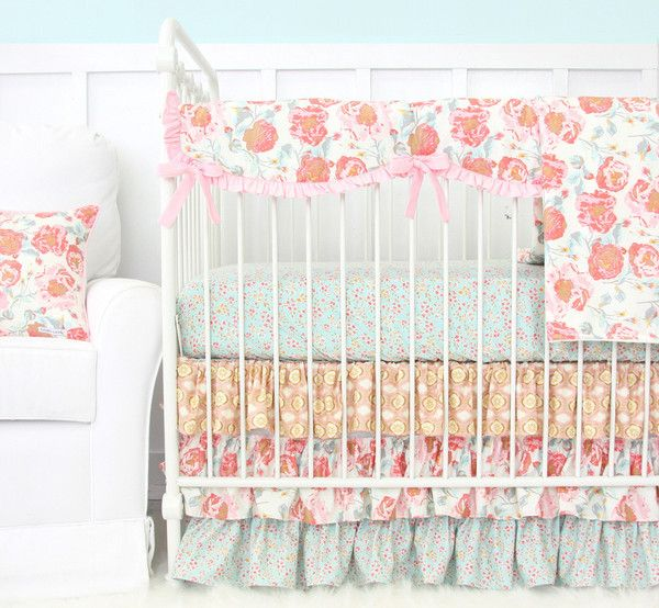 Backordered. Ships in May. Felicity's Floral crib rail cover is the perfect teething guard for your little one's nursery.  A sweet girly blush pink and dusty aq