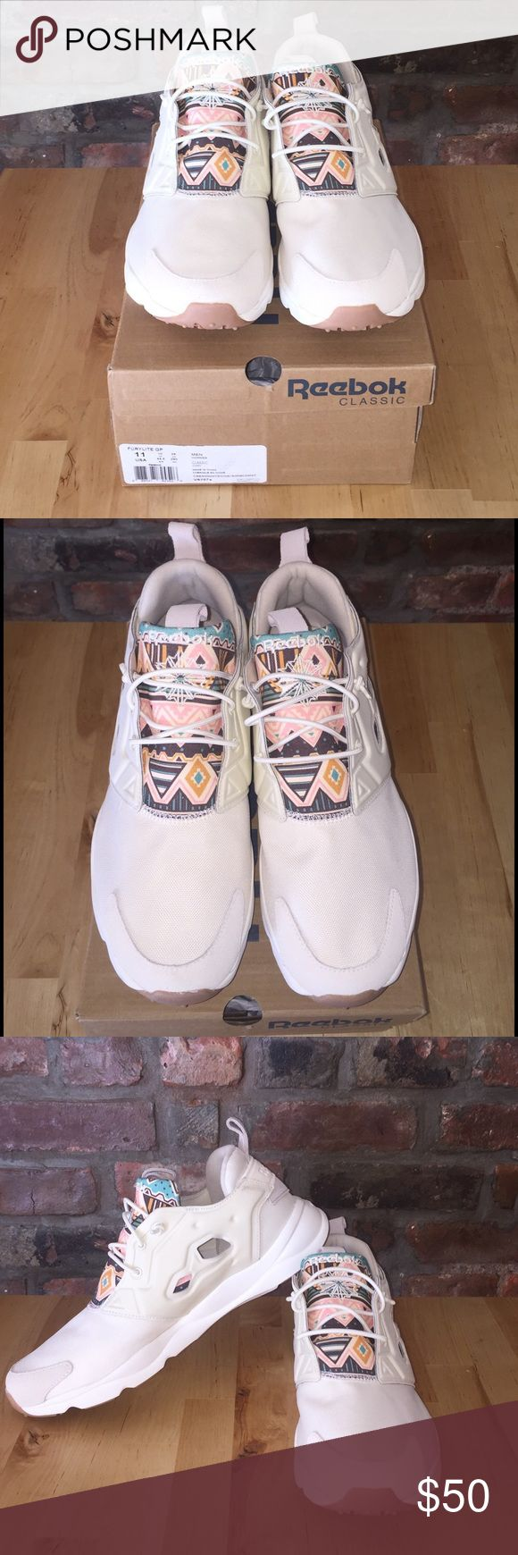Reebok- Furylite GP Brand New Sneaker Brand New! Reebok- Furylite GP Sneaker- Cream/White/Aztec pattern Accent- Small Cut Out Detail Reebok Shoes Sneakers