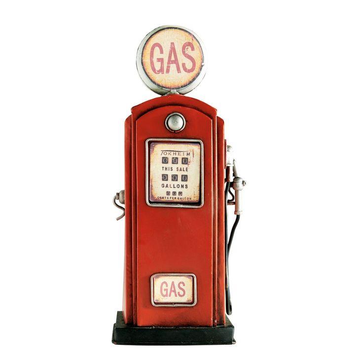 Rode metalen benzinepomp als spaarpot H 32 cm