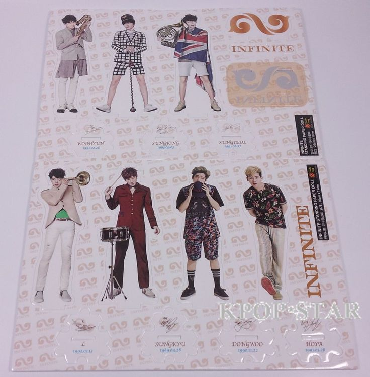 Infinite Standing Paper Doll Korean Pop Star KPOP K POP K-POP Paper Doll