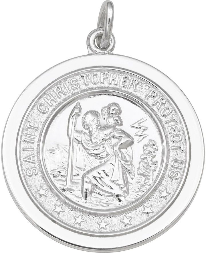FINE JEWELRY Sterling Silver Round Saint Christopher Medal Charm Pendant