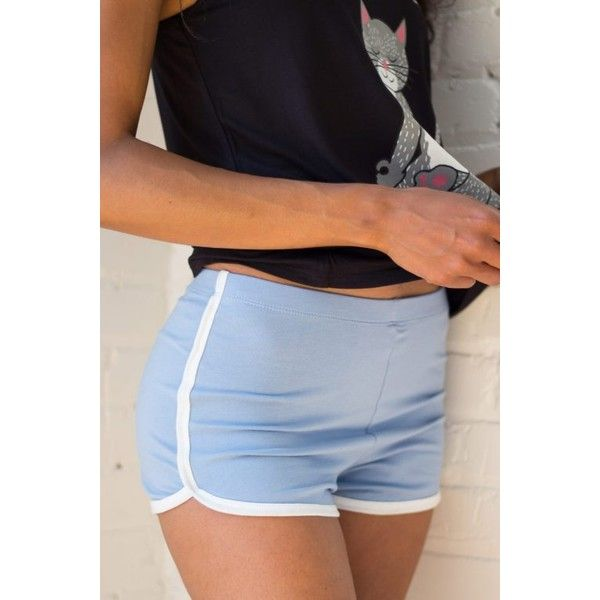 Blue Dolphin Shorts ($7.99) ❤ liked on Polyvore featuring shorts, dolphin shorts, dolphin hem shorts and blue shorts