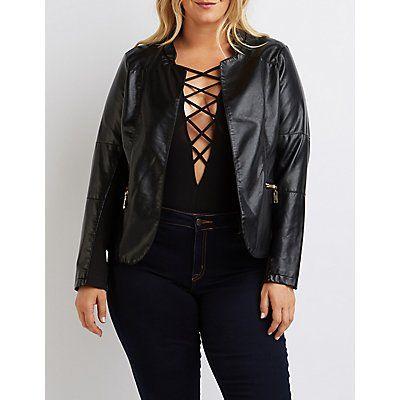 Plus Size Black Faux Leather Open Jacket - Size 1X