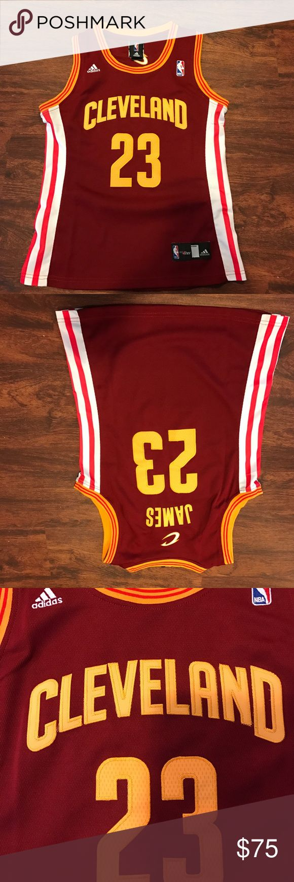 *PRICE DROP* Lebron Cleveland Cavilers 23 Jersey Lebron James Cleveland Cavs 23 jersey - purchased from another posher did not realize all patches were hand sewed on, still very nice!!! Worn once, great condition. (Women's Medium) Tops