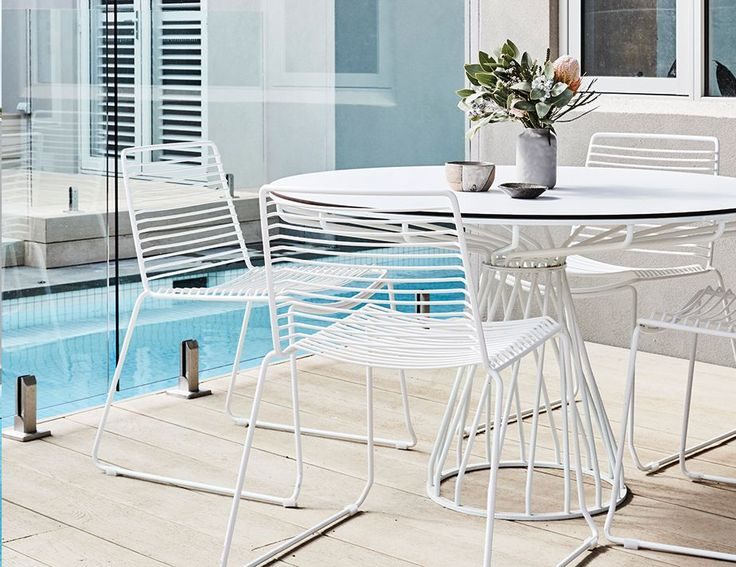 VELLETRI WHITE INDOOR OUTDOOR WIRE DINING CHAIR and Table BY GLID STUDIO FOR HUSET