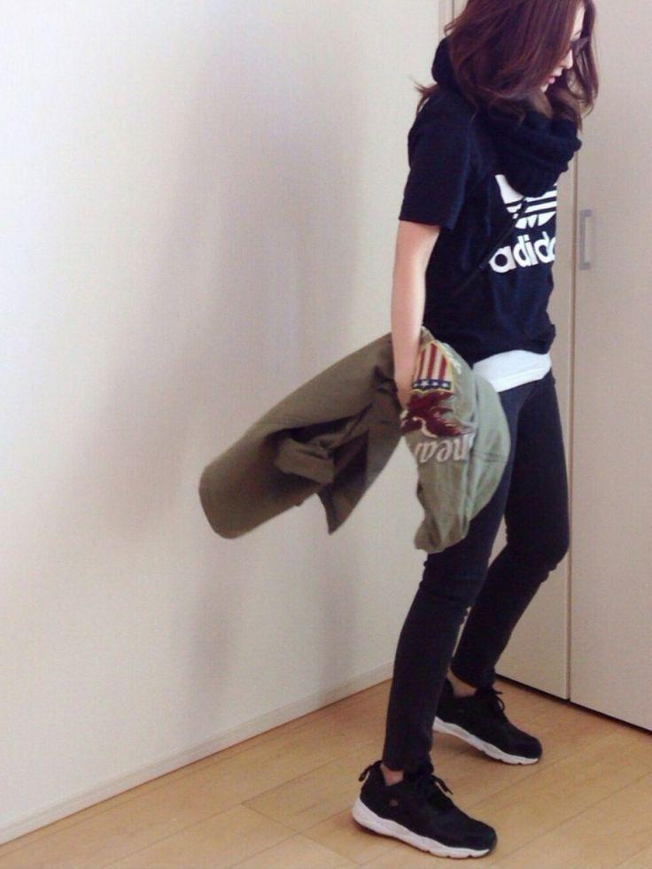 mayumiミリタリージャケット「Ungrid 【Casual】AVIREX刺繍ミリタリーSH」를(을) 사용한 코디네이트