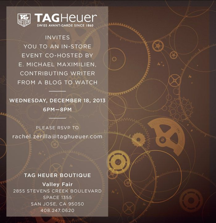 YOU ARE INVITED: TAG Heuer Boutique Holiday Party In San Jose With aBlogtoWatch