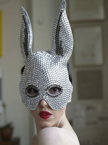 Michelle Harper in another striking Heather Huey creation: a studded rabbit mask: Heather Huey, Rabbit Masks, Style Iconbrand, Style Crushes, Madcap Fun, Michele Harpers, Personalized Style, Daily Style, Style Fashion