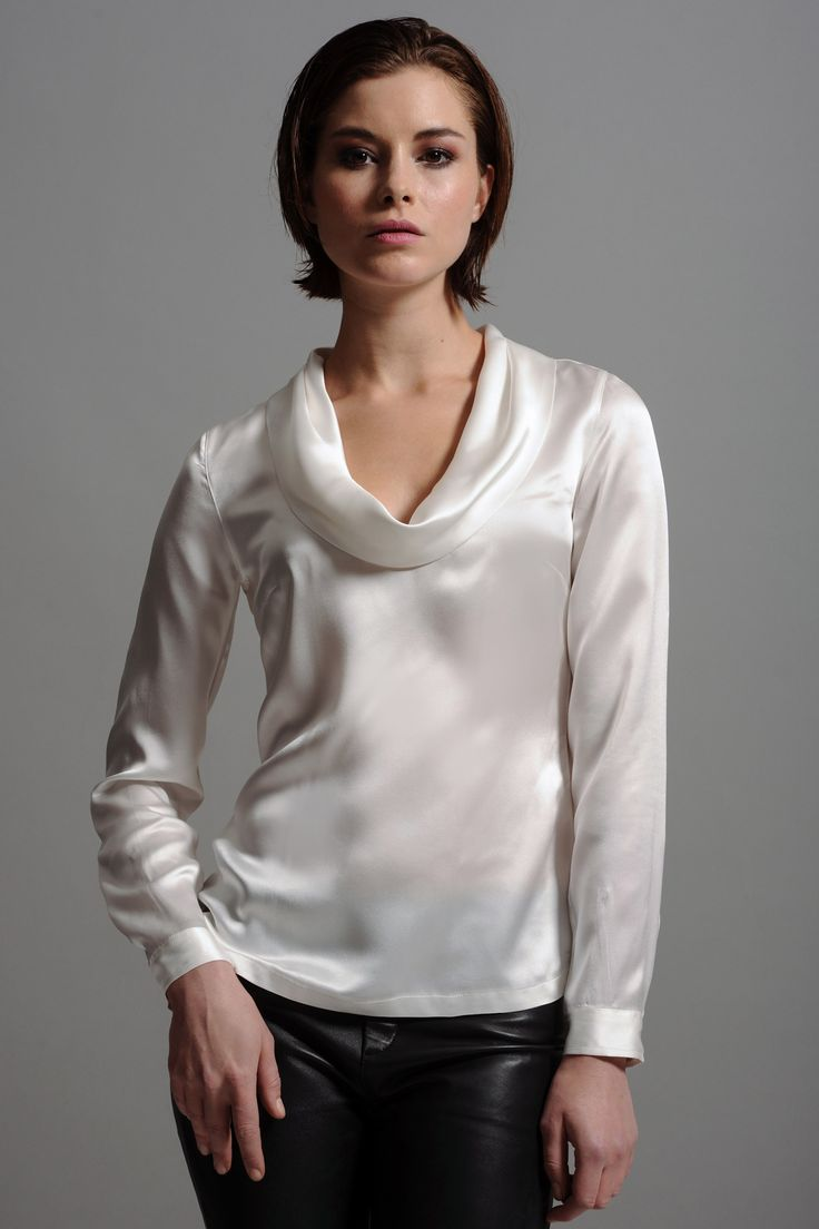 ff1e8f08de6 White Silk Cowl Neck Blouse 52