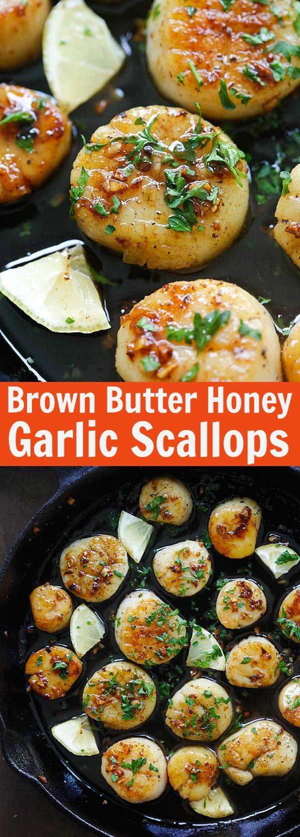 Brown Butter Honey Garlic Scallops – crazy delicious seared scallops with brown butter and honey garlic sauce. The best scallops recipe ever   rasamalaysia.com