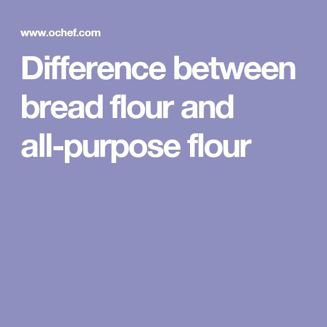 Difference between bread flour and all-purpose flour
