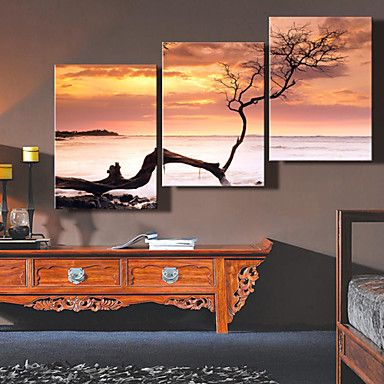 Beautiful Sunset Canvas Panel Set <3. do this but take your own photo at the beach split it have it made on canvas :)