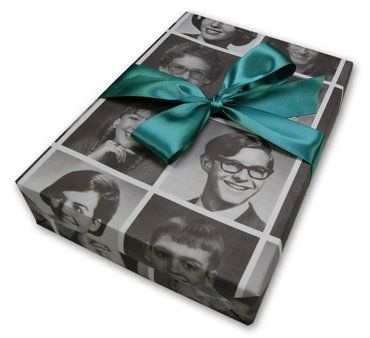 Order your own wrapping paper...use old yearbook pictures.etc..Great Idea..