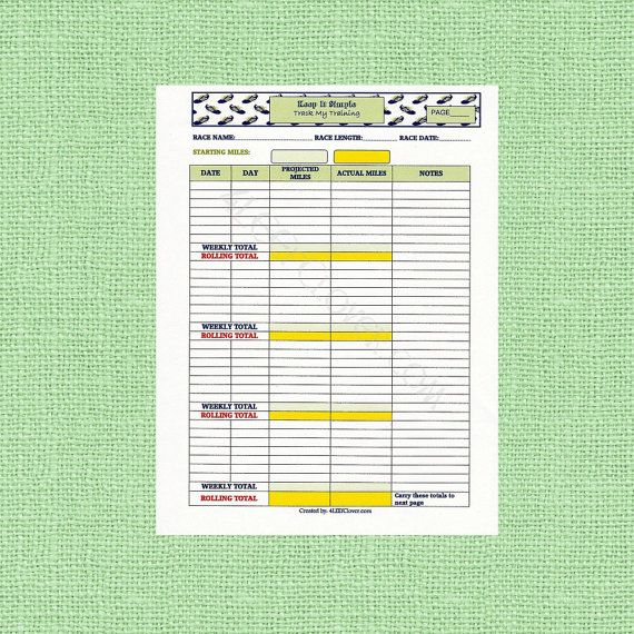 Track My Training Log  Monthly. PDF Downloadable by 4LEEfClover