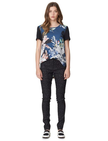I AM by Andrea Moore Deer Stalker Top - This short-sleeve printed top has a round neck and contrast sleeves.