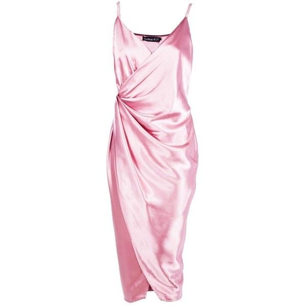 Boohoo Gaynor Satin Wrap Strappy Midi Dress | Boohoo (£36) ❤ liked on Polyvore featuring dresses, pink satin dress, wrap dress, pink dress, mid calf dresses and calf length dresses