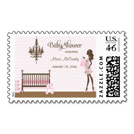 Pink Elegant Nursery Baby Girl Shower Stamps