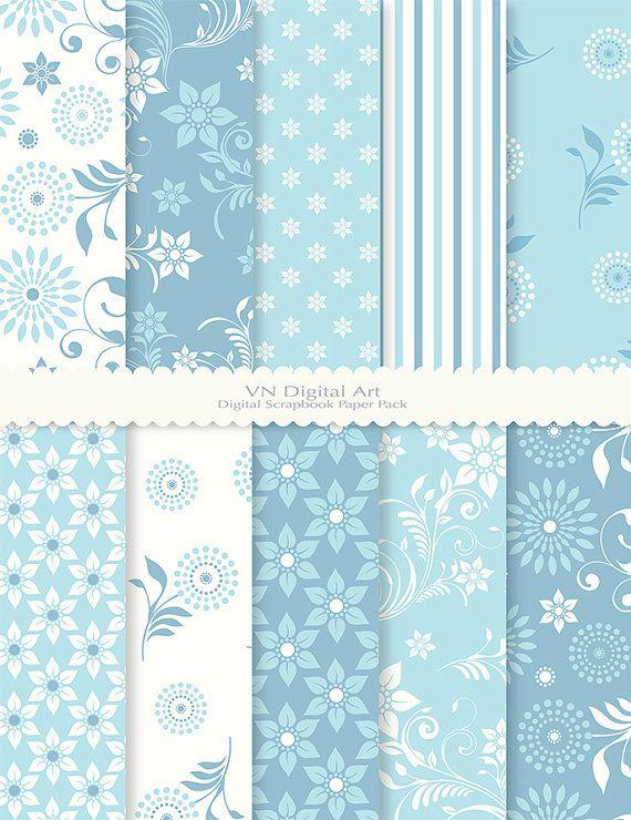 """Digital Paper, Spring Floral Digital Scrapbook Paper Pack (8.5x11""""-300 dpi) -- Instant Download -- 10 Digital papers -- 227"""