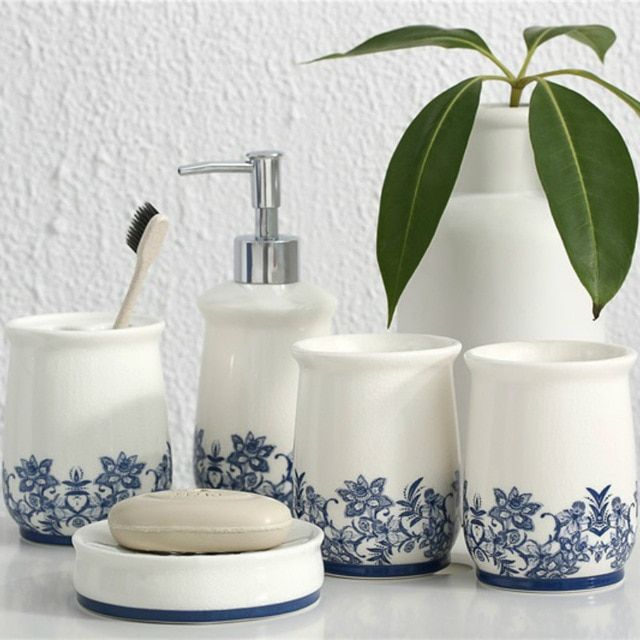 5 Pieces Bathroom Accessories Set Blue And White Porcelain Toothbrush Holder Soap Bathroom Accessories Sets Bathroom Accessories White Bathroom Accessories Set