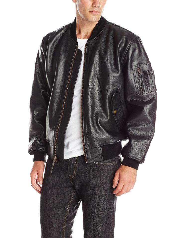 Alpha Industries Men's Leather MA-1 Bomber Jacket, Black, Medium
