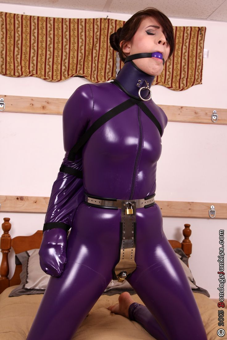 ☺gaggedutopia: Jamie vs. Her Impatience #bondage #catsuit #chastity #armbinder #shiny