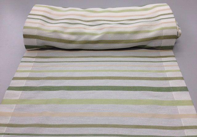 Disponibile nelle misure: Larghezza 45 cm, 60 cm e 80 cm a partire da 13.50euro al metro.  #Tendino a #vetro misto poliestere. Colore base bianco con righe di varie tonalità di verde e beige.