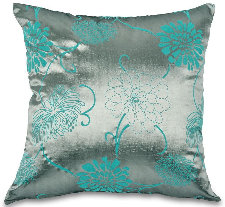 Teal Blue Amp Silver Grey Taffeta Faux Silk 18 Quot Cushion