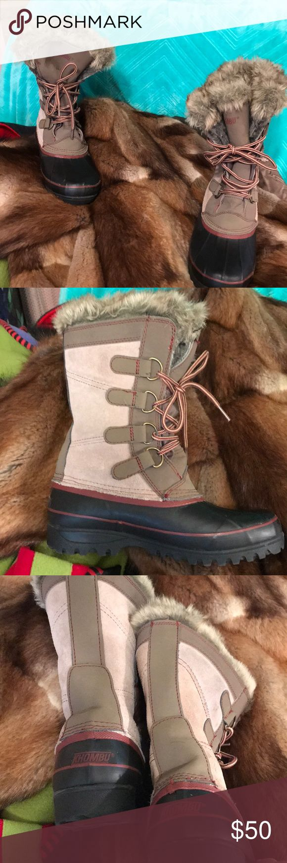 Awesome authentic Khombu boots These mid calf length boots are so cool 😎 looking, not to mention being extremely warm! Snow boots, or fashion to enjoy outside when very cold temperatures. New condition, worn just a couple of times. A couple of small spots on one boot, shown. I think they will come out, just haven't tried. These are perfect for cold climates. Lace up, and fully lined in faux fur. Khombu Shoes Lace Up Boots