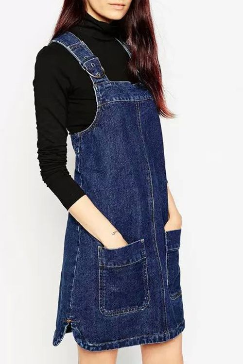 Blue Zippered Denim Suspender Skirt