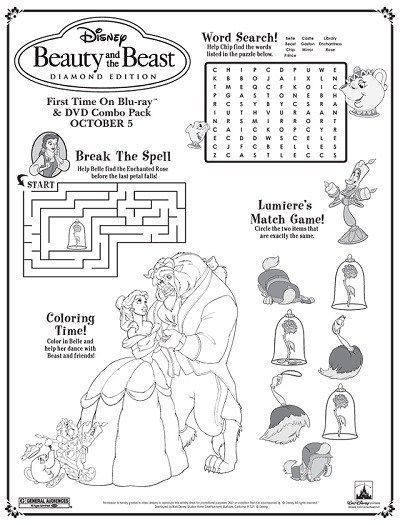 Disney's Beauty and the Beast Printables, Coloring Pages and Activities | SK… – Beauty – Tips, Products, Tutorials