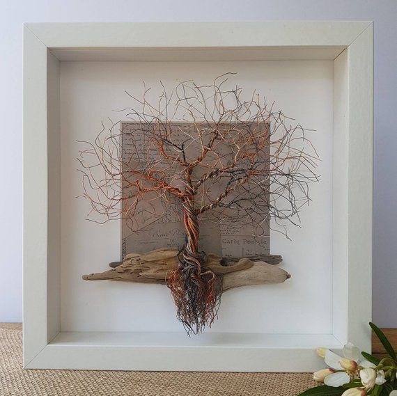 Framed Wire Tree Sculpture Wire Tree Sculpture Tree Sculpture Metal Tree Wall Art