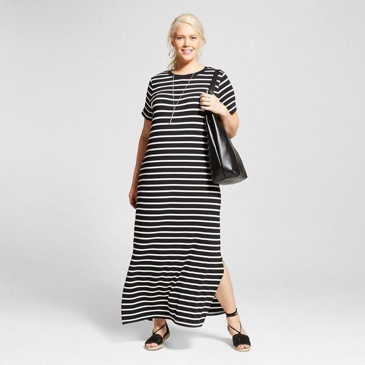 Women's Plus Size T-Shirt Maxi Dress Black Stripe X - Ava & Viv