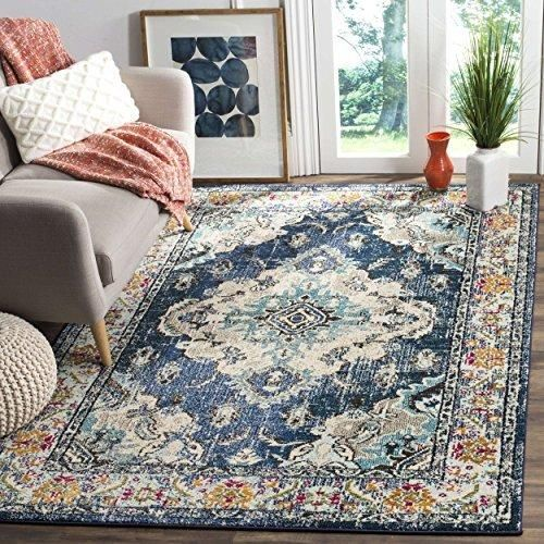 3x5ft Navy Light Blue White Orange Colored Bohemian Medallion Distressed Area Rug Indoor Oriental Bedroom Dining Living Room Mat Rectangle Carpet Geometric Synthetic Vintage Flooring
