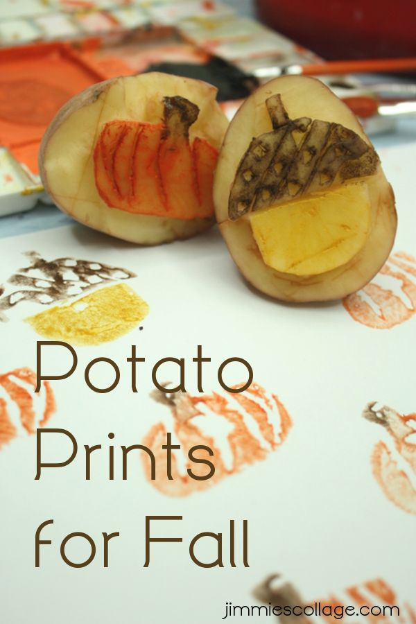 Using Potatoes to make homemade stamps with an autumn/fall theme.