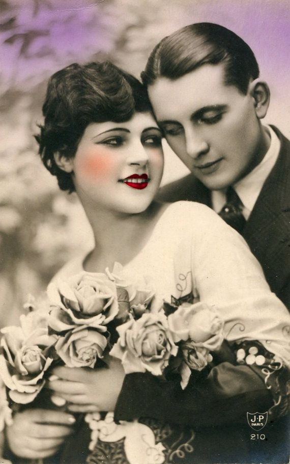 Vintage French hand tinted photo postcard - Flapper art deco couple AD075 - Victorian Paper Ephemera