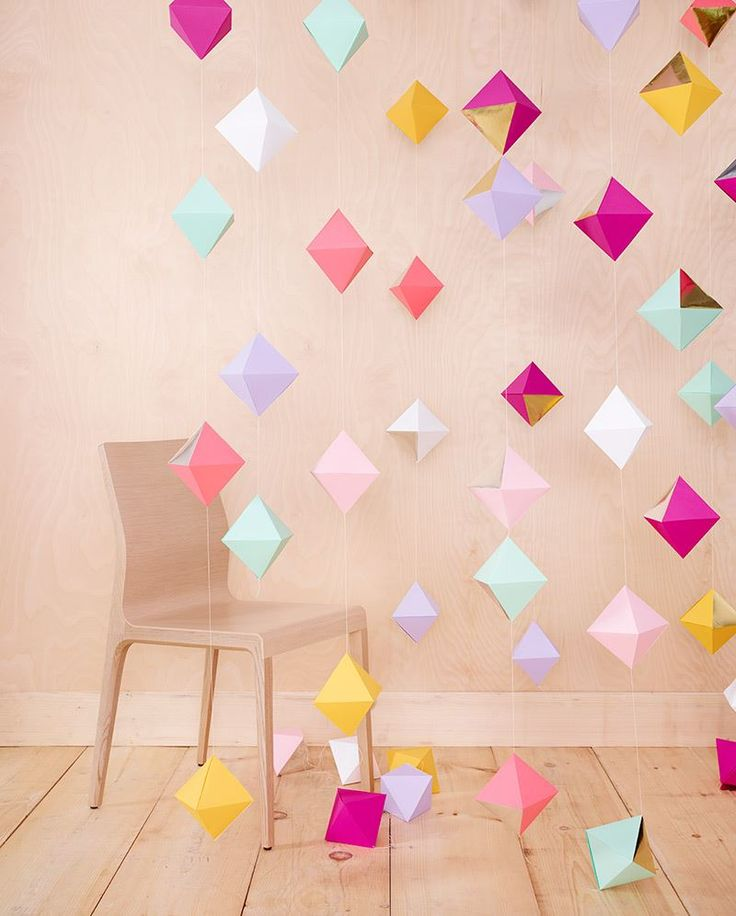 DIY Geo Paper Decorations would be great painted in Glowinthe