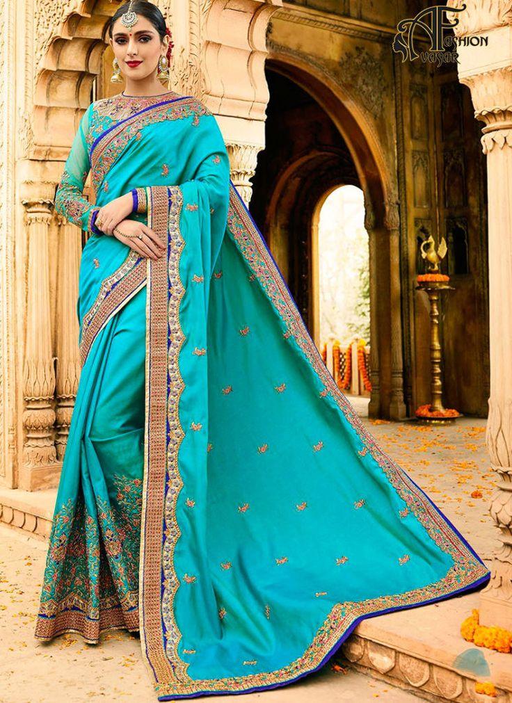 Designer Sarees Online – Blue Silk Saree Indian