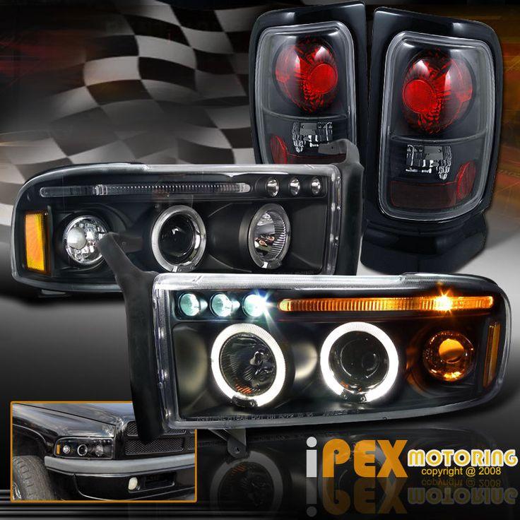 94-01 Dodge Ram 1500 2500 3500 Halo Projector LED Headlights + Tail Lights Black…