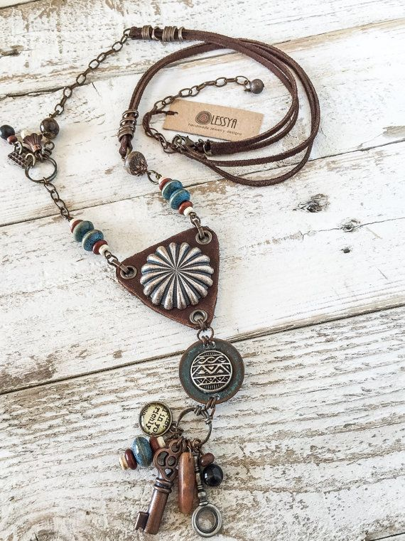 Boho Rustic Necklace Hippie Leather Necklace by OlessyaDesigns