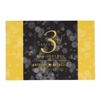 Elegant 3rd Leather Wedding Anniversary Placemat - anniversary cyo diy gift idea presents party celebration