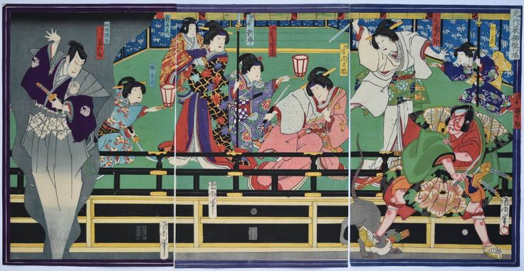 "By Toyohara Kunichika (豊原 国周). A triptych of the famous scene from Meiboku Sendai hagi ""The Disputed Succession"" showing Kawarasaki Gonjuro I as Arajishi Otokonosuke and Onoe Kikugoro V as Yoshio. The rat with the scroll of conspirators is attacked, escapes, and reappears through a trapdoor in its true guise as the evil Nikki Danjo. Published by Tsujiokaya Bunsuke, 1869. (2124×1100)"
