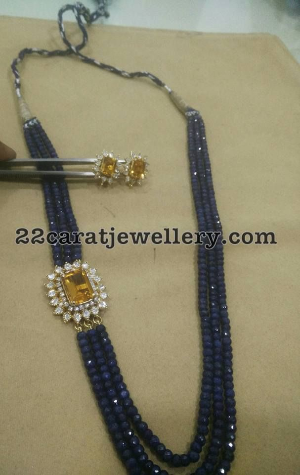 Blue and Yellow Sapphire Beads Set - Jewellery Designs