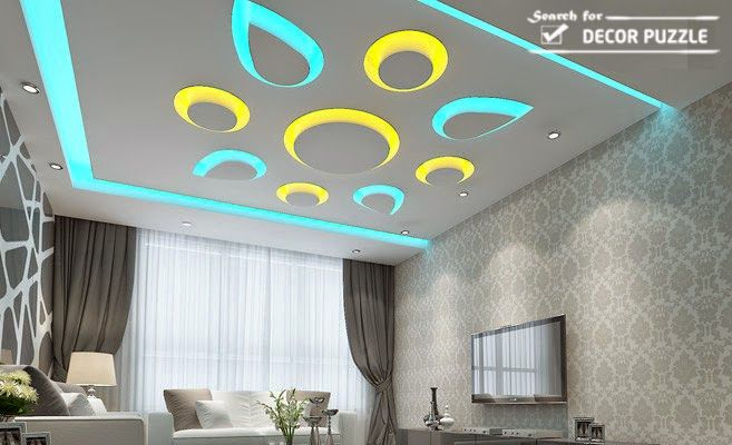 pop design for room, colored led ceiling lights for living room