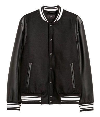 Padded baseball jacket | Black/White | MEN | H&M IN