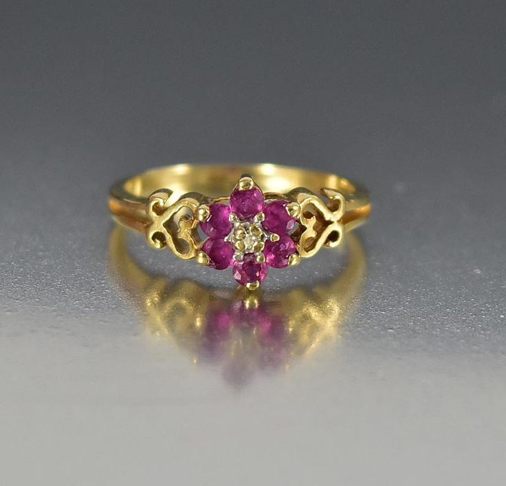 Vintage Estate 10K Gold Heart Diamond Ruby Ring for Pinky  #Ruby #Yellow #Ring #Pink #intage #Diamond #Vintage #Heart #Gold #Men